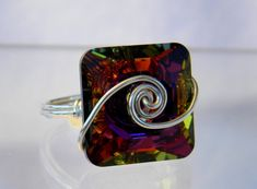 Sterling Silver Swarovski Volcano Square Ring by jewelrysldesigns, $40.95