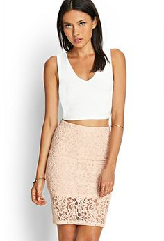 Floral Lace Pencil Skirt | FOREVER21 - 2000069334