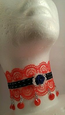 Red White & Blue Choker 4th of July Victorian steampunk costume cosplay gothic Nemesia.theall@gmail.com https://m.facebook.com/NemesiasCreations/