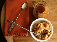 Pumpkin Latte Ice Cream with Salted WHISKEY Caramel!  Hell yeah!  via Fields of Cake and Other Good Stuff