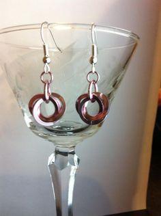Square edged three ring moebius... Three Rings, Wine Glass, Jewelry Design, Tableware, Earrings, Dinnerware, Porcelain, Wine Bottles