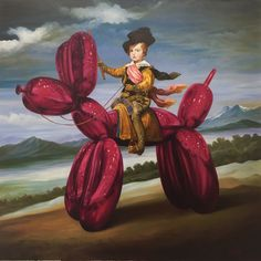 A DADA ! oil on canvas - 120 cm x 120 cm by Thierry bruet tribute to Jeff Koons and Velazquez
