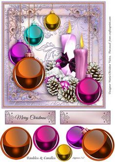 "Baubles and Candles Card Front on Craftsuprint designed by Maria Christina Vieira  - Approx.7x7 inches square card front,Elegant colorful card front with baubles and candles, comes with bauble layers and 2 labels, one with text "" Merry Christmas"" and one blank label. - Now available for download!"