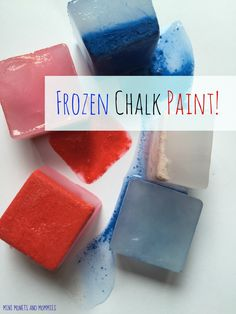 Kids' science and art activity making DIY frozen chalk paint that turns into red, white and blue watercolors. Science For Kids, Art For Kids, Crafts For Kids, Frozen Painting, Ice Play, Messy Play, Chalk Art, Diy Art, Activities For Kids