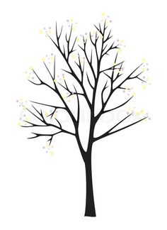 Tree Clip Art Black and White | Stock image of 'Black tree silhouette on white background'