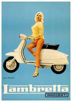 Jayne Mansfield ~ Lambretta Scooters, 1960s.