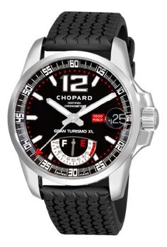 Chopard Men's 16/8457 Miglia G Tris Watch Chopard. $5484.99. Stainless-steel case; Black dial; Date function. Water-resistant to 99 feet (30 M). Case diameter: 10 mm. Scratch-resistant-sapphire crystal. Quality Swiss Automatic movement; Functions without a battery; Powers automatically with the movement of your arm. Save 17%!