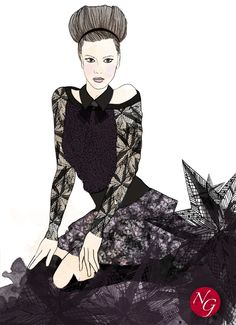 Deep stars  http://www.nefergarden.com/2013/01/28/deep-stars/  #fashion #illustration #dentelle #stars