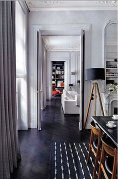 Any good house has an enfilade plan situation. House Styles, House Design, Home And Living, Interior, Interior Spaces, Home Decor, House Interior, Interior Architecture, Dark Wood Floors