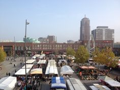 Enschede city market and skyline
