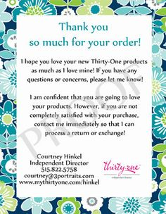 MUST GET!!! Thirty-One Thank you - Personalized