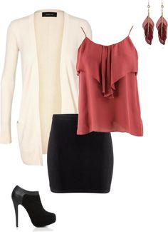 Black, cream, and rust colored outfit. Wear for a dinner date.