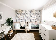 Elevate Your Nursery Style with Our Big Sale! - Project Nursery Shannon Willardson Floral Shared Nursery is so lovely. Twin Baby Rooms, Baby Room Boy, Twin Baby Girls, Baby Bedroom, Baby Room Decor, Girl Room, Twin Room, Baby Twins, Nursery Twins