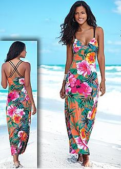 dd88d8b12a2 Tropical print maxi dress from VENUS women s swimwear and sexy clothing.  Order Tropical print maxi dress for women from the online catalog or