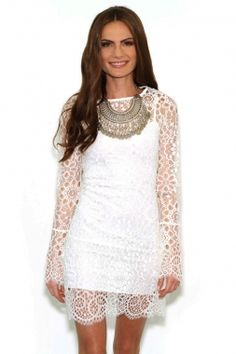 White Spaghetti Straps Mini Dress With Lace Surcoat Wholesale US$7.98