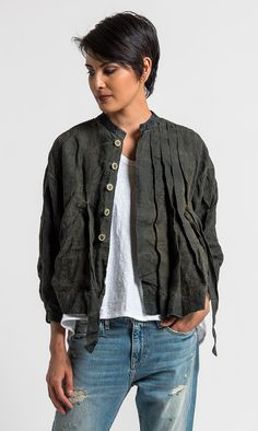 Umit Unal Linen Pleat and Tie Front Jacket in Green   Santa Fe Dry Goods & Workshop #umitunal #linen #pleat #jacket #ss17 #fashion #style #clothing #spring #summer #edgy #santafe #santafedrygoods