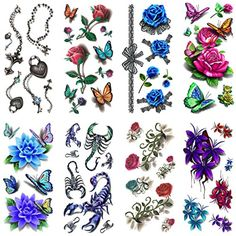be83854aa Oottati 8 Sheets Assorted Temporary Tattoo 3D Multiple Rose Flowers  Scorpion ** You can find