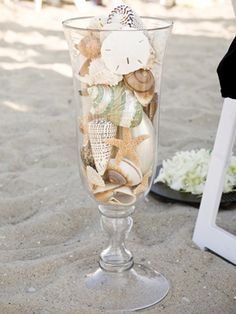 Heather and Libby--Seashell aisle marker/reception tables--I need to stop looking, but I keep finding all these beach-y, cute ideas!  Like the shape of the glass.
