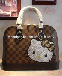 621566813 cute hello kitty rhinestone handbags!Blingbling bag! Presbyopia small  coffee classic fashion crystal bags