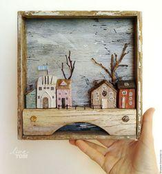 Город ручной работы. Ярмарка Мастеров - ручная работа. Купить Картина 'Весна в городе' домики, дрифтвуд-декор. Handmade.