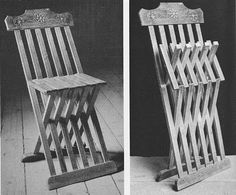 Documentation for straight-wooded folding chairs in the 16th century. Handy for those who don't want to steam bend wood, or do wasteful shaping.