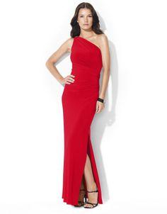 Lauren Ralph Lauren Floor-Length One-Shoulder Brooch Dress on shopstyle.com