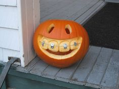 Pumpkin with braces, lol. I need to do this when Halloween rolls around again :)