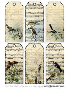 Birds and Butterflies Digital Collage Sheet Gift tags to by bitmap, $4.00