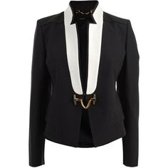 GUCCI Cotton/Faille Contrast Lapel Jacket ($1,205) ❤ liked on Polyvore