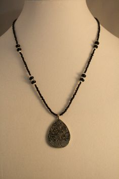 Silver & Black Beaded Necklace with Etched Pendant - Creations by Tammy - 1
