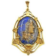 Preowned Rare Belle Epoque Lapis Lazuli Madonna Virgin Mary Cameo 18... ($3,950) ❤ liked on Polyvore featuring jewelry, pendants, multiple, pendant necklaces, cameo pendant, cameo jewelry, engraved pendants, pendant jewelry and flower pendant