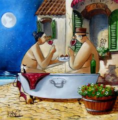 Bath Scene by Ronald West