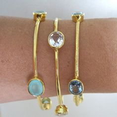 Three 18K Gold Vermeil Bangles with Blue by tangerinejewelryshop