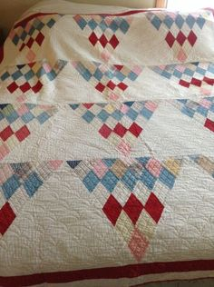 Vintage Antique ~ Jade Diamond Mountains ~ Quilt Top ~ Hand Stitched 77 X 68, eBay, ladybuggs1965