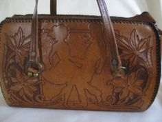 Vintage Tooled Leather DANCERS Purse by VintageByThePound on Etsy, $85.00