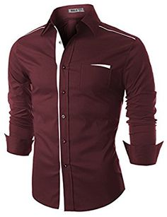 Doublju Mens Contrast Trimmed Button Down Dress Shirts at Amazon Men's Clothing store: