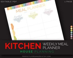 Weekly Menu Meal Planner by days of the week Week Menu Kitchen Printable Planner DIY Pastel Binder Organizer || Household PDF Printables