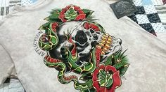 Authentic AFFLICTION Men T Shirt  XL  100%  Cotton  Short Sleeve Skull & Roses #Affliction #GraphicTee