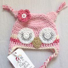 handmade crochet newborn twin owl hats