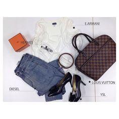 todayscoordinate  tops#armani  bottoms#diesel  bag&belt#louisvuitton  shoes#ysl  watch#hermes   #ヴィトン #ディーゼル #エルメス #hウォッチ #アルマーニ #イヴサンローラン #ファッション #コーディネート #コーデ #fashion #先取りアイテム #simple #autumn #f4f #l4l #instagood #買取ピカイチ