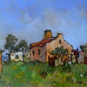 Sold |Theys, Conrad | The yellow house South Africa Art, Bright Colors Art, National Art Museum, Pastel Artwork, South African Artists, Art Society, Building Art, Post Impressionism, Artist Painting