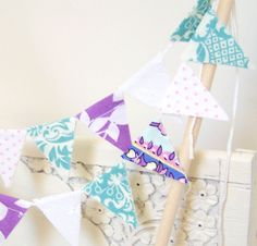 Mini Party Cake Bunting Banner Flags Aqua by vintagegreenlimited