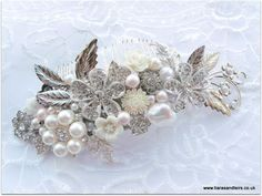 This bespoke hair comb made for a beautiful bride to be with a modern style with a vintage twist using soft pink pearls
