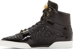 Versace Black Quilted Leather High-Top Sneakers