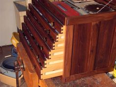 Walnut Machinist's Chest by bjmh46 -- Homemade walnut machinist's chest loosely based on a Popular Mechanics plan. Constructed from 10-year old figured walnut. http://www.homemadetools.net/homemade-walnut-machinists-chest