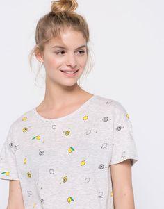Pull&Bear - woman - t-shirts - all over lemons print t-shirt - pale marl - 05239380-V2016