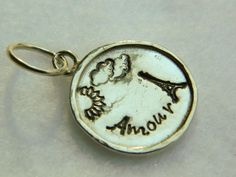 Sterling silver hand stamped Amour, Paris, French, Eiffel Tower, Sun | Lundela - Jewelry on ArtFire