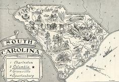 Vintage map of SC