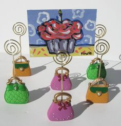 ACEO original cupcake painting acrylic purse place by BrookeHowie, $15.00