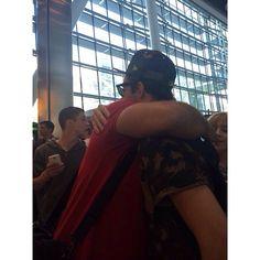 Nathan hugging Paul at the airport 19/05/2014
